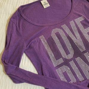 Victoria's Secret Pink Purple Glitter Long Sleeve